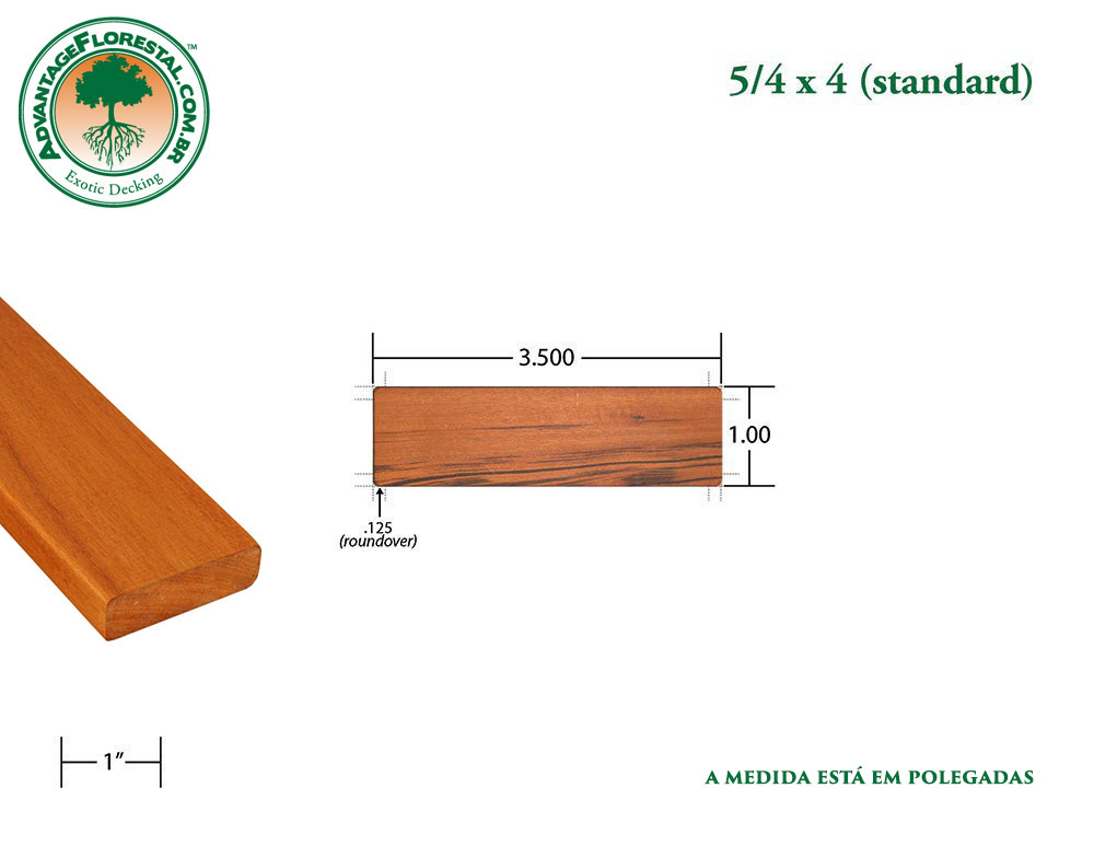 Exótico Padrão tigerwood Dimensional Decking Lumber 5/4 in. x 4 in.
