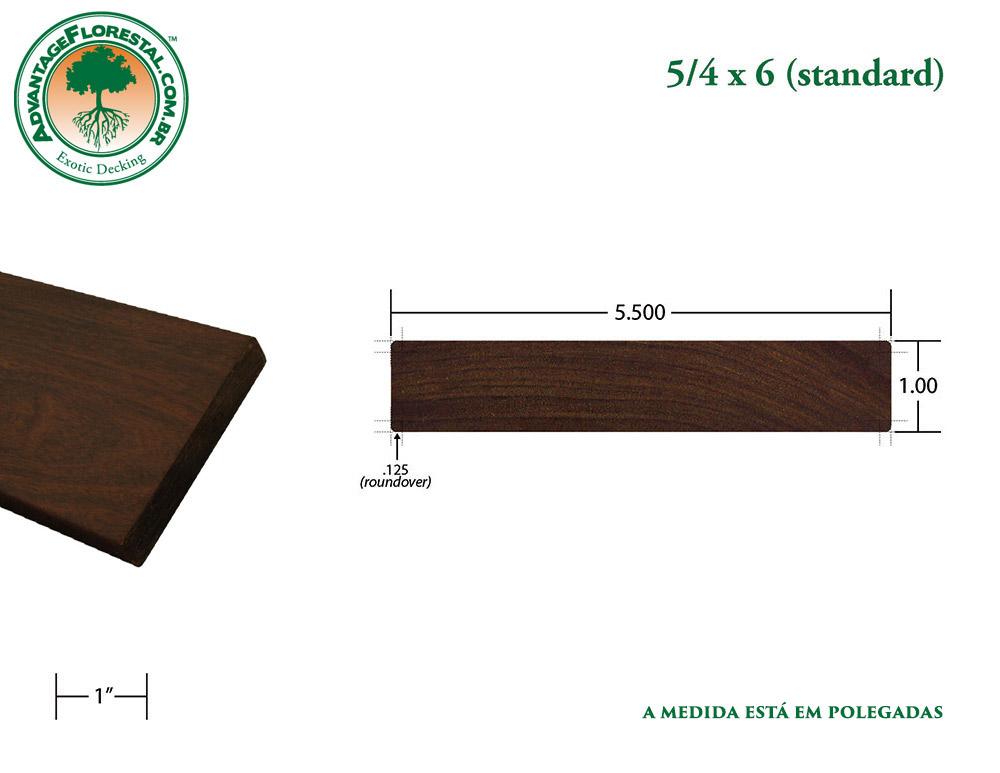 Exótico Padrão garapa Dimensional Decking Lumber 5/4 in. x 6 in.