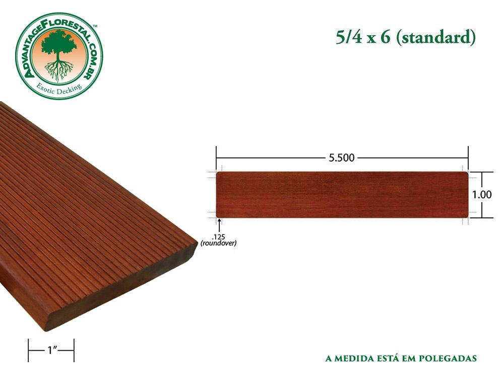 Exótico Padrão massaranduba Dimensional Decking Lumber 5/4 in. x 6 in.