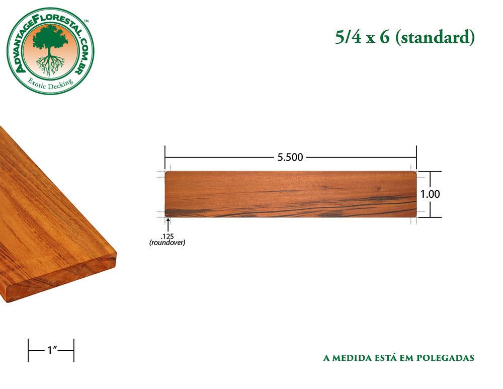 Exótico Padrão tigerwood Dimensional Decking Lumber 5/4 in. x 6 in.
