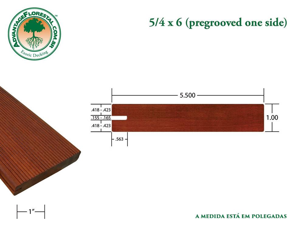 Exótico One Sided PreGrooved massaranduba Decking 5/4 in. x 6 in.