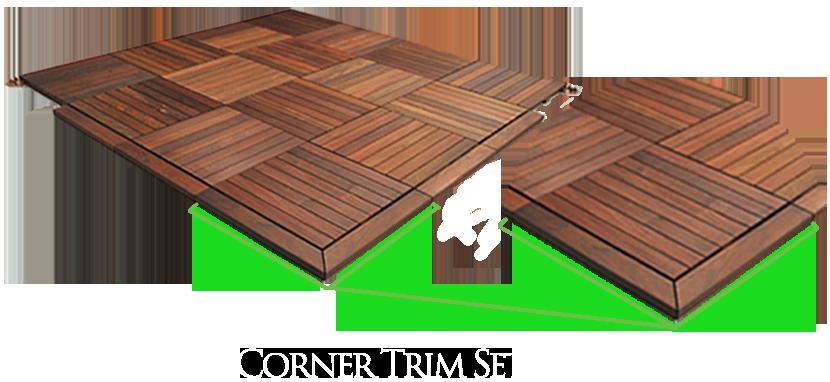 Deck tile corner trim